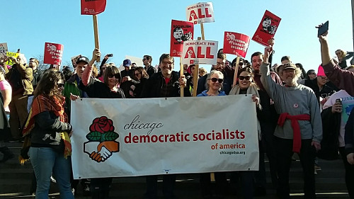 DSA at women's march on chicago